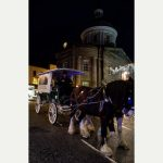Shire horses George and Ringo pull the mayor's carriage down to Chapel Street to switch on the Christmas lights. Penzance Christmas Lights Festival 2015. PZGM20151128C-026_C